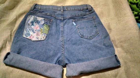 Shorts Jeans Customizado Bordado Cintura Alta 38