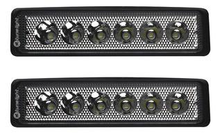 2 Faros De 6 Led Pvc C/estrobo 18w Universal Jeep/motos/auto