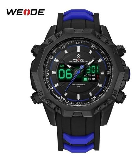 Relógio Masculino Borracha Azul Militar Top A Pronta Entrega
