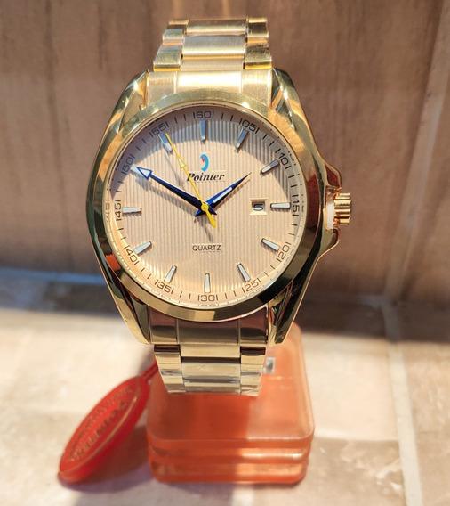Relógio Masculino Dourado Pointer Marcador De Data