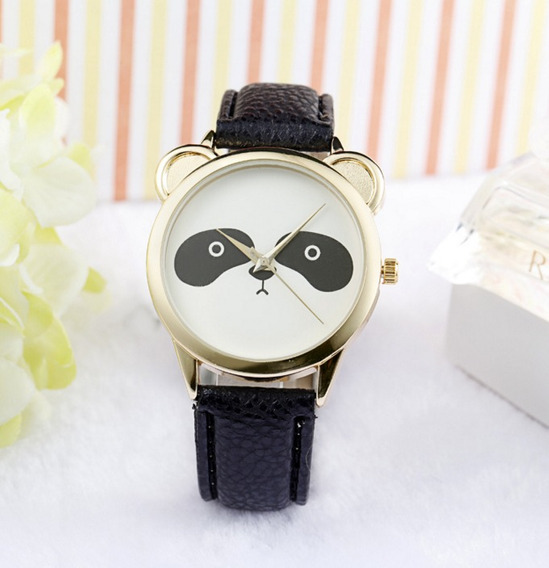 Relógio Feminino Unissex Preto Panda