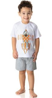 Roupa Bebê Menino Conjunto Pijama Camiseta E Bermuda Verão