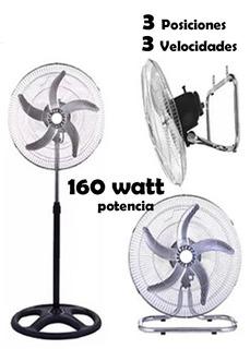 Ventilador 160 Watt Potencia, 3 Velocidades, 3 Posiciones.