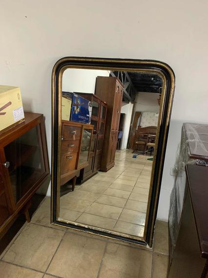 Espejo Antiguo De Gran Tamaño Con Marco De Madera De Cedro.