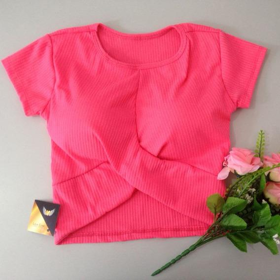 Blusa Curta Transpassado Cruzado Croped Inspired + Brinde01