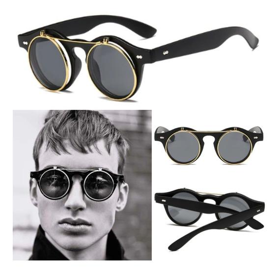 Óculos De Sol Redondo Gothic Steampunk Levanta Lentes + Case