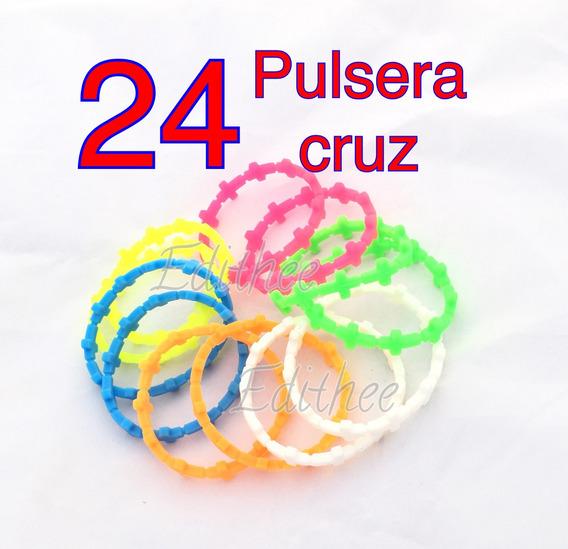24 Pulsera Decenario Cruz Silicon Caucho