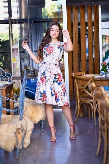 Vestido Midi Rodado Moda Evangélica Gospel Princesa Cinto