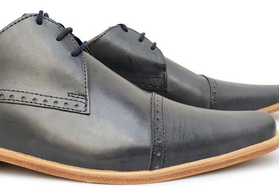 Zapato De Vestir Hombre Cuero Negro Marron Azul Suela Camel