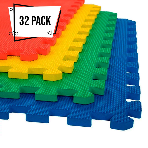 32 Pack Tapete Foamy 12m2 61x61 12mm Fomy Gym Piso Bebe
