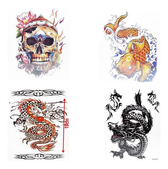 4 Cartela Tatuagem Temporária Fake Tattoo Caveira Dragão