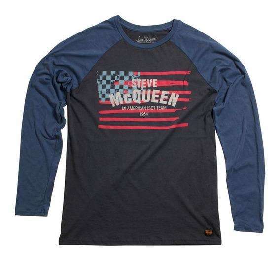 Camiseta Manga Longa Mcqueen Americana Preto/azul