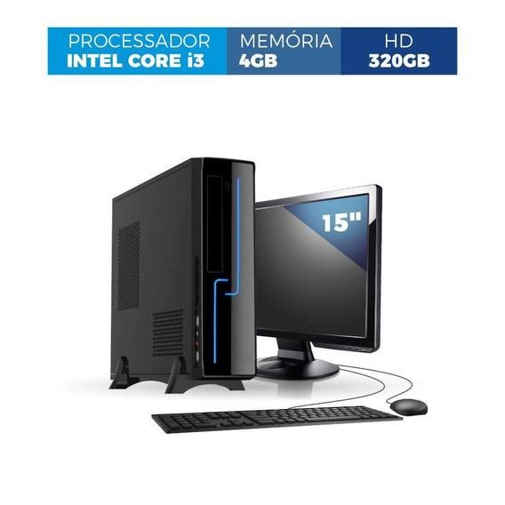 Pc Slim Core I3 4gb 320gb Monitor Led 15