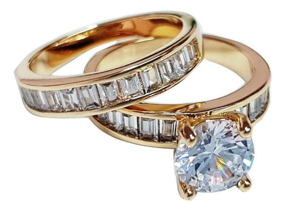 Anel Com Aparador Feminino Cristal Banhado Ouro Amarelo