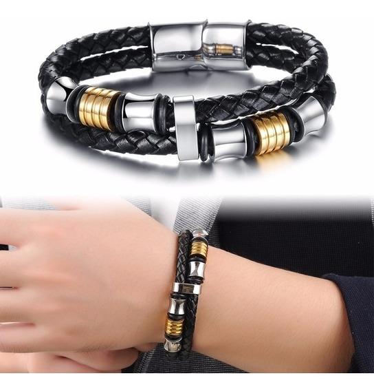 Bracelete Masculina Pulseira Couro + Aço Inox Ouro 18k