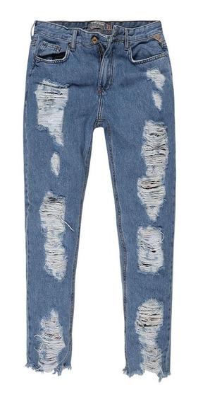 Calça Jeans Feminina Mom Destroyed