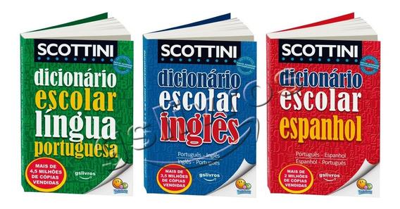 Kit 3 Dicionario Ingles Espanhol Ingles Escolar Mini Nova Or