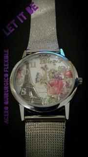 Reloj Parisino Acero Quirúrgico Flexible !!!