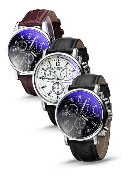 Kit 3 Relógios Classic Analógico Yazole 271