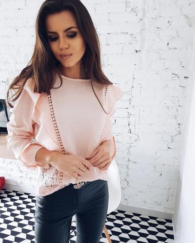 Blusa Rosada Con Encaje Elegante Talla S Nueva Importada