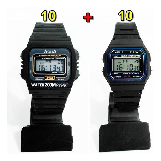 Kit Com 10 Relógios Aqua Aq 37 + 10 Aqua F 91w Atacado!!!