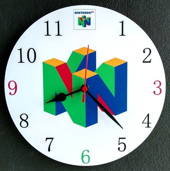 Relógio De Parede Super Nintendo 64 Jogo Video Game 30cm