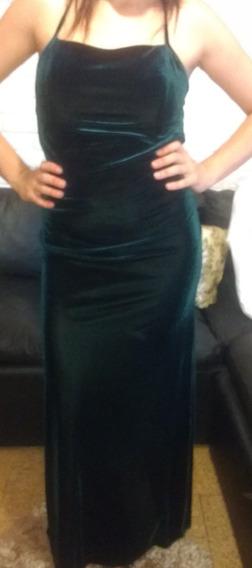 Vestido Chifon Con Tiras Verde Oscuro Con Chalina