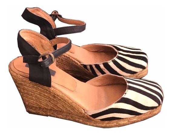 Zapatos Con Plataforma Yute Y Cuero Print Zebra Topshop