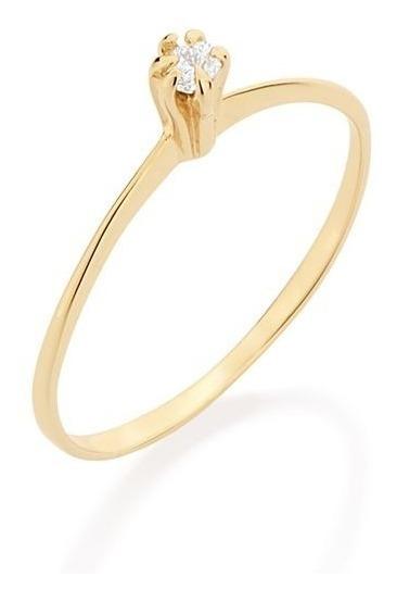 Anel Solitário Com Zircônia Folheado Ouro Rommanel 512180