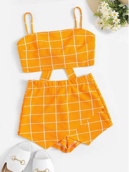 Conjunto Casual Tirantes Con Shorts Doblado Naranja A44