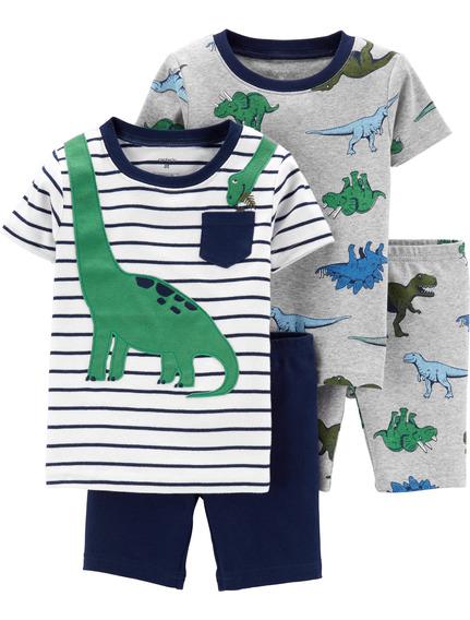 Carters Set De 4 P. Pijama Bebé Nenes Dinosaurio