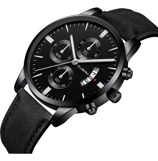 Relógio Masculino Caixa Aço Inoxidável Pulseira Couro Social