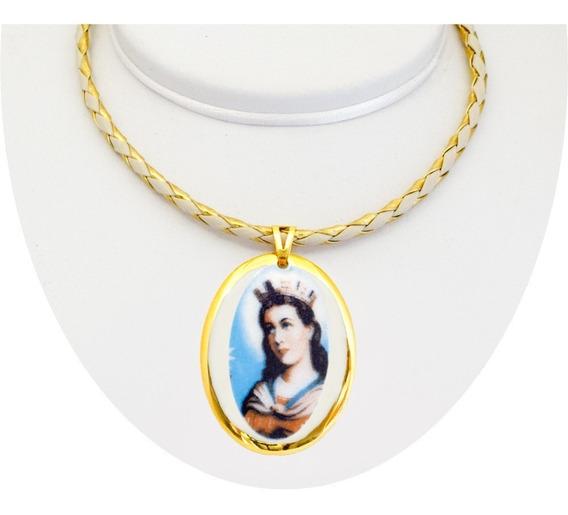 Corrente Pingente Fé Medalha Santa Bárbara Ouro Religioso