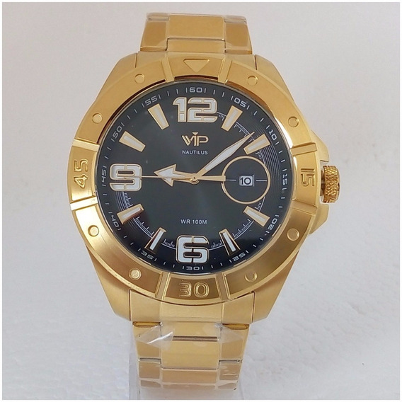 Relógio Vip Dourado Masculino Ouro 18k Original Prova Dágua