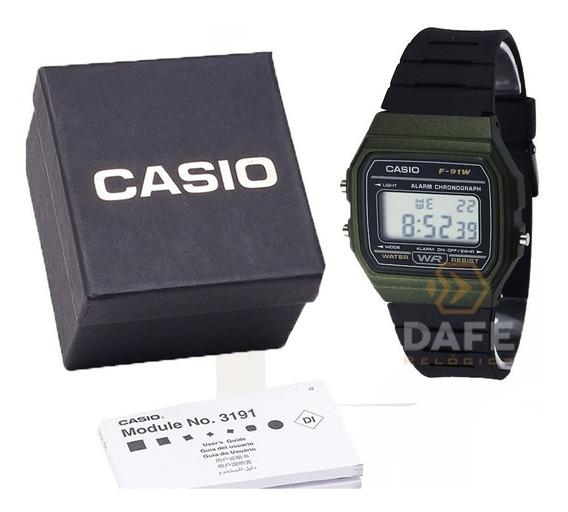 Relógio Casio F-91 Verde Digital Original C/ Caixa E Nf