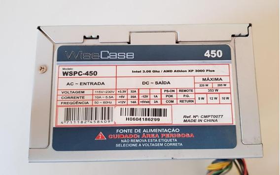 Fonte Atx 12v 20 Pinos 450 Wisecase Wspc-450 Usada Ref: D22