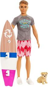 Boneco Ken Surfista + Prancha E Cãozinho