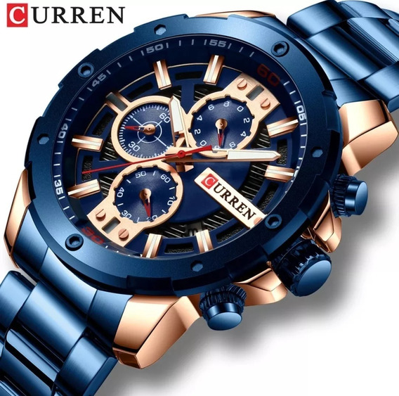 Relógio Masculino Curren Inoxidável De Luxo Frete Grátis