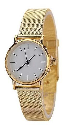 Relógio De Pulso Geneve Dourado Pulseira De Malha Ref. 199/1
