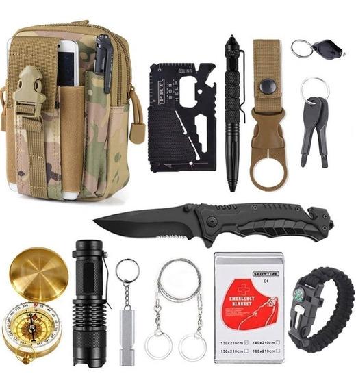 Morral Tactico Molle Kit Supervivencia 13 En 1 Aire Libre Color Mimetizado S-5026m