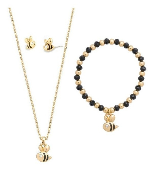 Nice Collar Dije Abeja+pulsera+aretes Baño Oro 18k Con Envio