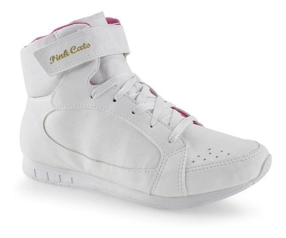 Tênis Para Menina Cano Alto Infantil Pink Cats W8464a Branco