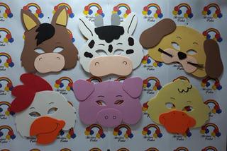 10 Mascaras De Eva Animais Bichos Fazendinha
