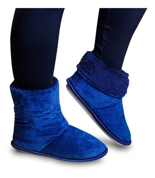 Pantufa Bota Polar Azul Feminina Masculina Super Quentinha