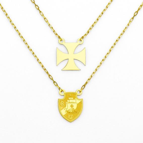 Escapulário De Ouro 18k Escudo Vasco Da Gama E Cruz De Malta