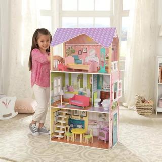 Casa De Muñecas Poppy Kidkraft Para Niñas Madera Mdf 110 Cm.