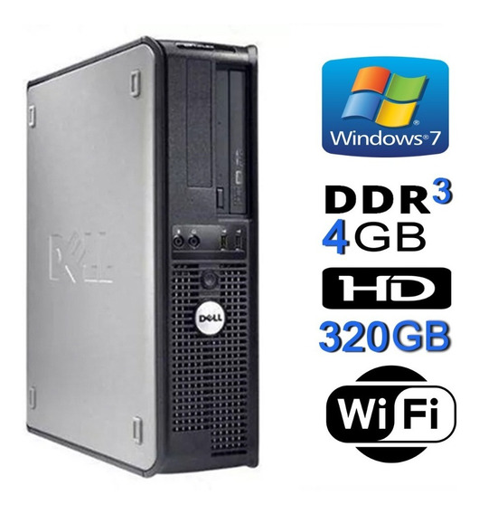 Pc Dell 780 Core 2 Duo E7500/ 4gb Ddr3 / Hd 320 Gb + Wi-fi