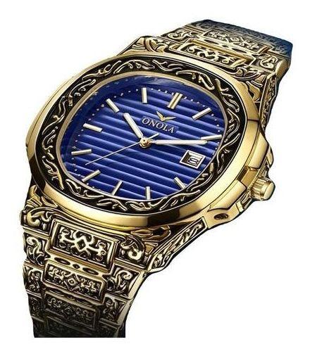 Relógio Onola De Cobre E Aço Inoxidável Retro Quadrado Luxo