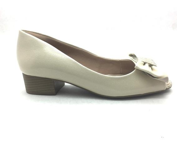 Sapato Peep Toe Ramarim Comfort Salto Baixo Off White