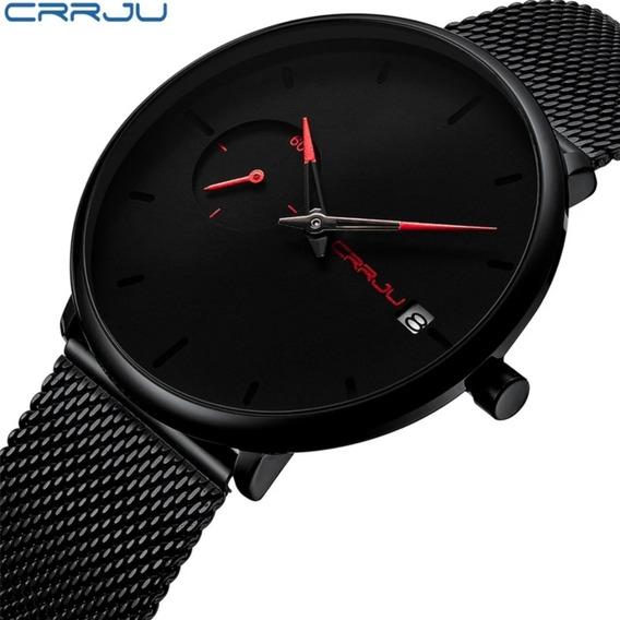 Relógio Masculino Social Luxo Crrju 2258 Com Data